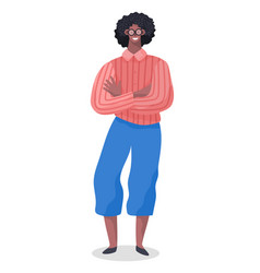 African american male character standing with his vector
