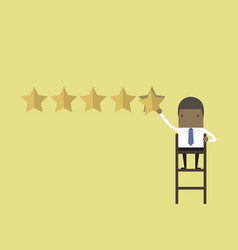 african businessman giving five star rating vector image