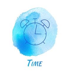 Alarm Clock Time Watercolor Concept vector