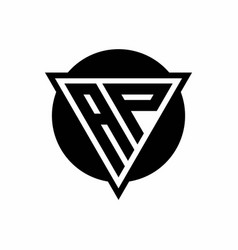 Ap logo with negative space triangle and circle vector