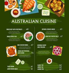 Australian cuisine menu template meals vector