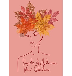 Autumn background with outline portrait of girl vector image