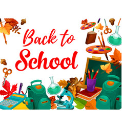 back to school supplies festive poster design vector image