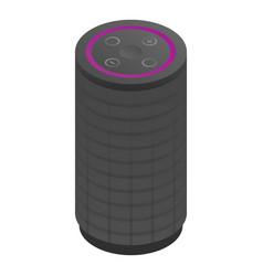 Black smart speaker icon isometric style vector