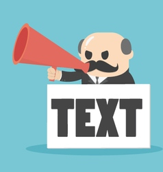 Businessman holding a megaphone with a text vector