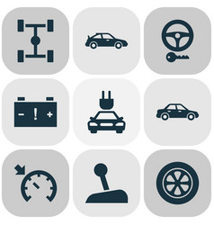 car icons set with key sports automobile caution vector image