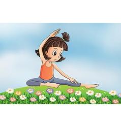 Cartoon Yoga Girl vector image