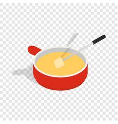 Cheese fondue isometric icon vector