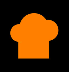 chef cap sign orange icon on black background vector image