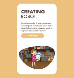 Child creating robot education technology skills vector