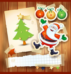 christmas background with postcard and funny vector image