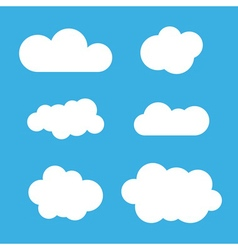 Cloud icons set White outline vector