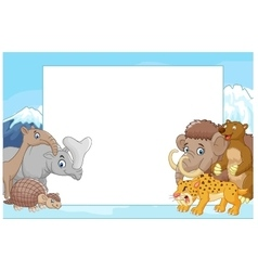 Collection of ice age animals with blank sign vector image