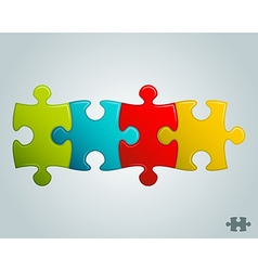 Colorful puzzle pieces horizontal line vector
