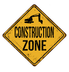 Construction zone vintage rusty metal sign vector
