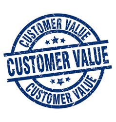 Customer value blue round grunge stamp vector