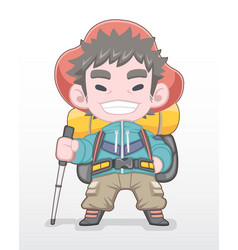 Cute style red hat hiker standing vector