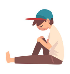 Depressed boy sitting on floor unhappy stressed vector