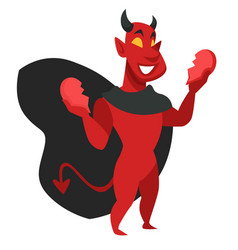 devilish character with evil thoughts satan vector image