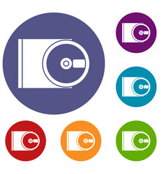 Dvd drive open icons set vector