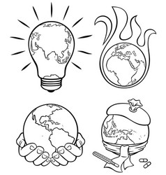 ecology concepts 3 line art vector image