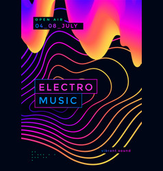 electro summer wave music poster club party flyer vector image