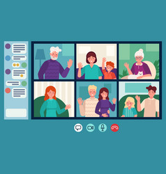 family video chat parents grandparents and vector image