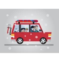 Family winter traveling travel car flat vector