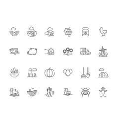 farm symbols rural field landscape agricultural vector image