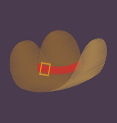 flat shading style icon clothes cowboy hat vector image