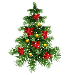 Fluffy green Christmas tree with ornaments vector
