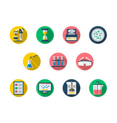 Forensic flat round icons set vector