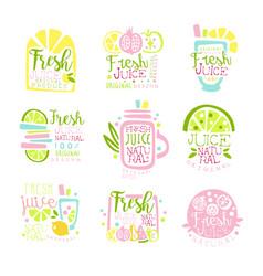 Fresh juice set of logo templates hand drawn vector