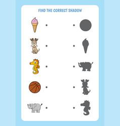 funny cartoon worksheet find correct shadow vector image