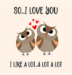 funny valentines day card with birds couple vector image