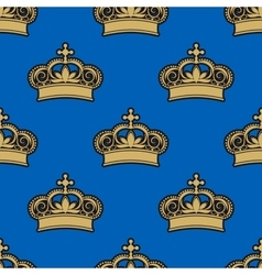 Golden royal crowns seamless pattern vector