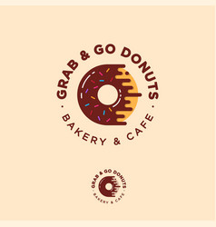 Grab go donuts logo bakery donuts cafe vector