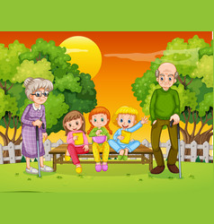 Grandma and grandpa with many children in the park vector