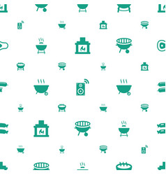 Grill icons pattern seamless white background vector