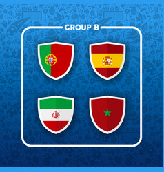 group b russian soccer event country flag list vector image