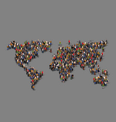 group people in form world map vector image