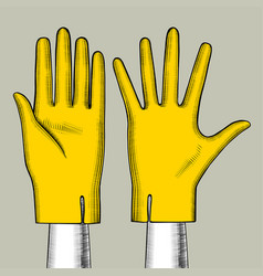 Hand with yellow gloves vector