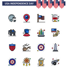 Happy independence day 16 flat filled lines icon vector