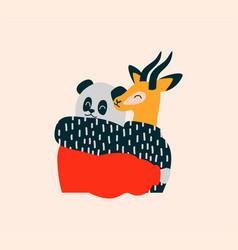 Happy wild animal friends hug on isolated vector