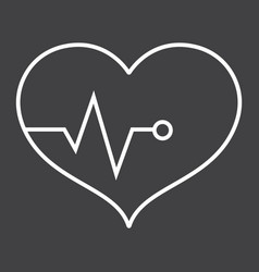 heart pulse line icon fitness and sport vector image