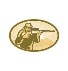 Hunter Aiming Rifle Oval Retro vector