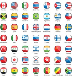 International flags buttons vector