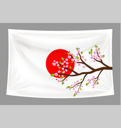 japan flag with sakura cherry blossom branch vector image