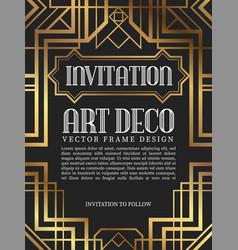 Luxury vintage frame art deco style vector