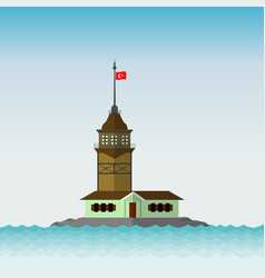 Maidens tower in istanbul flat desing vector